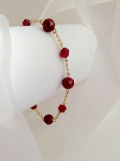 Gorgeous Gold Chain Bracelet with Siam Red Clear and Opaque Faceted Glass Beads by BecauseIamHappy on Etsy
