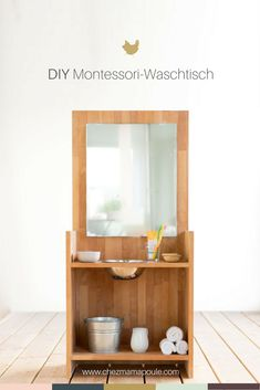 DIY: Montessori washstand (Or: brush your teeth without a fight) - Organisation - Baby Activities Toddler Furniture, Diy Furniture Plans, Home Furniture, Diy Montessori, Montessori Toddler, Toddler Vanity, Maila, Home Organisation, Diy Vanity