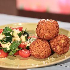 the chew | Recipe  | Michael Symon's Arancini With Tomato Zucchini Salad