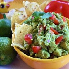 This refreshing guacamole has lots of lime juice, cilantro, and green onions for a dip everyone will love. Serve with tortilla chips or as topping for Mexican dishes. Yummy Guacamole Recipe, Authentic Guacamole Recipe, Homemade Guacamole, Mexican Dishes, Mexican Food Recipes, Snack Recipes, Cooking Recipes, Healthy Recipes, Ethnic Recipes