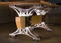 Metal and wood table