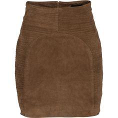 Gestuz Skirt Carla Leather (€90) ❤ liked on Polyvore featuring skirts, mini skirts, saias, faldas, bottoms, gestuz, real leather skirt, brown leather mini skirt, leather panel skirt and print mini skirt