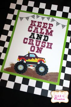 Monster Truck Party  8x10 sign
