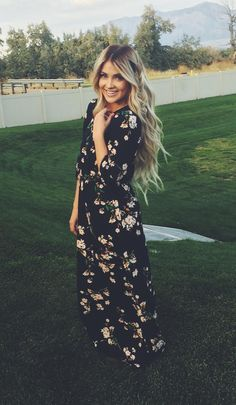 floral dress + long hair