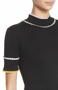 Main Image - St. John Collection Scallop Trim Knit Top