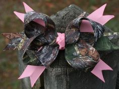 Girls' Accessories Snow Camo Over The Top Boutique Bow Princess Hairbow Clip Mossy Oak
