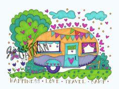 Camper Coloring Page, Coloring Pages, Vintage camper art, Camper Color Pages…