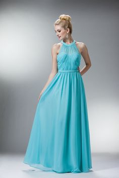 Classy Rouched Long Prom  Dress Gow Evening Bridesmaids - The Dress Outlet - 5