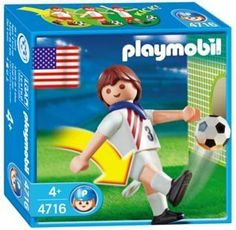 Playmobil USA Soccer Player Figure by Playmobil. $5.98. 3.9 x 3.9 x 1.4 inches. Includes ball. The Playmobil USA Soccer Player includes a ball, stand, paper goal, and jersey number stickers. Kicks ball with lever on the back of his leg.