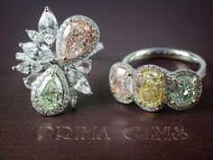 So desirable, Natural Fancy Color Diamond Rings from #PrimaGems…