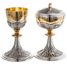 Metal Chalices Ciboria Patens: Chalice and ciborium Chi-Rho chiseled brass