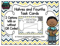 This is a set of 24 QR code task cards aligned to the first grade common core standard: CCSS.Math.Content.1.G.A.3 Partition circles and rectangles into two and four equal shares, describe the shares using the words halves, fourths, and quarters, and use the phrases half of, fourth of, and quarter of. Describe the whole as two of, or four of the shares. Understand for these examples that decomposing into more equal shares creates smaller shares.