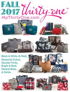 Thirty-One... All Colors... All Styles... Black & White (& Red), Bright & Bold, Seasonal Colors, Neutral Base, Solids and Novelty Prints. Handbags, Crossbody & Shoulder Bags, Backpacks, Travel Bags & Luggage, Wallets & Totes, Small & Large Thermals, Storage & Organization, Pillows & Wall Art, Home Accessories & Utility… THIRTY-ONE GIFTS has something for everyone. See all these great items at www.mythirtyone.com/carrieblackman