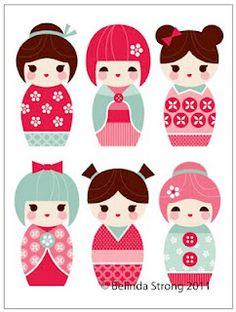Tudo Junto e Misturado: Kokeshis para Decoupage for 1500 free paper dolls, go to my website Arielle Gabriel's The International Paper Doll Society. Matryoshka Doll, Kokeshi Dolls, Peg Doll, Felt Crafts, Paper Crafts, Japanese Party, Japanese Doll, Kawaii, Doll Hair