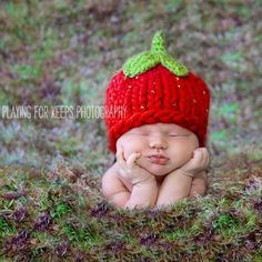 This is one of the most unique newborn crochet baby hats I've ever seen. It looks just like a strawberry, including seeds! For sale at melondipity.com for $45.99