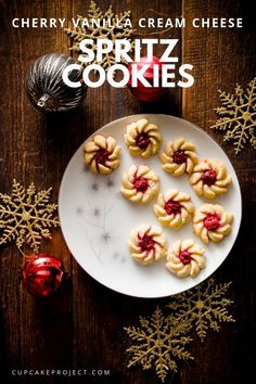 Looking for a festive cookie perfect for holiday cookie exchange? Make these Cherry Vanilla Cream Cheese Spritz Cookies. It's a breathtaking pretty cookie that's perfect for Christmas baking and holiday gift for friends! Fun Cookies, How To Make Cookies, Holiday Cookies, Cupcake Cookies, Linzer Cookies, Chip Cookies, Christmas Pudding, Christmas Desserts, Christmas Baking