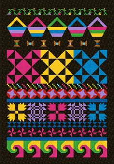 Row quilt idea - see the Seminole quilt book for more ideas against black background.