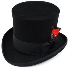 8aaf919c69c Elegante Men s Black Top Hat - 100% Wool (X-Large) Ferrecci http