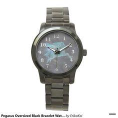 Pegasus Unisex Oversized Bracelet Watch. Color: black, gold, silver or two-ton