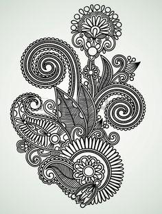 Hand draw line art ornate flower design Stock Vector