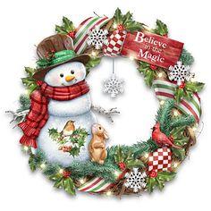 Marjolein Bastin Believe In The Magic Lighted Holiday Wreath Christmas Scenes, Christmas Art, Vintage Christmas, Christmas Decorations, Xmas, Holiday Decor, Harvest Day, Marjolein Bastin, Snowman Wreath