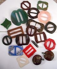 Great Lot of Antique and Vintage Buckles/Closures - Bakelite, Celluloid, Metal