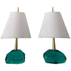 "Unique Pair of Table Lamps by Roberto Giulio Rida ""Diamantone"" 