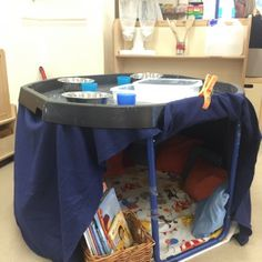 Reading area under literacy tuff spot. Eyfs Activities, Nursery Activities, Preschool Activities, Space Activities, Preschool Learning, Tuff Spot, Eyfs Classroom, Outdoor Classroom, Reception Classroom Ideas