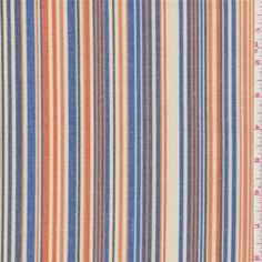 Orange/Blue Stripe Shirting - Fabric By The Yard. Summer shirt for Tallon?