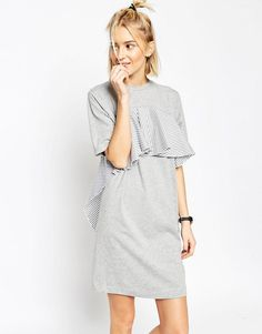 Image 1 of ASOS WHITE T-Shirt Dress with Stripe Frill Detail                                                                                                                                                     More