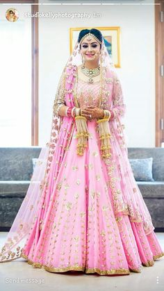 Do you think Only Red Lehenga is for Brides ? Gorgeous brides show how to rock your wedding in a Pink Bridal Lehenga. Indian Wedding Gowns, Indian Bridal Outfits, Indian Bridal Fashion, Indian Bridal Wear, Indian Dresses, Bridal Dresses, Indian Weddings, Indian Wear, Wedding Lehanga
