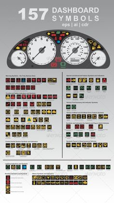 157 Dashboard Symbols  #GraphicRiver         A dashboard (also called dash, instrument panel, or fascia) is a control panel placed in front of the driver of an automobile, housing instrumentation and controls for operation of the vehicle beside the symbols and easy to adjust.