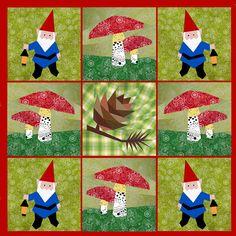 Gnome paper pieced quilt block pattern PDF. via Etsy.