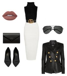 Untitled #786 by mandiexoxo1 on Polyvore featuring polyvore mode style Rick Owens Balmain Yves Saint Laurent Balenciaga Gucci Lime Crime fashion clothing