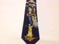 Rene Golf Theme Mens Necktie 1920's Style Golfers with Knickers and Plus Fours #Rene #NeckTie