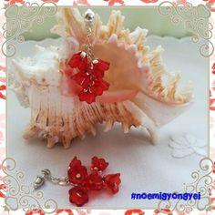 Csingi-lingi. Hat piros harangvirágból álló fürtöcske egy bedugós fülin.