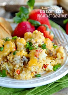 This delicious Slow Cooker Tater Tot Breakfast Casserole is an easy, comfort food dish that is loaded with eggs, sausage, cheese and tater tots! Tater Tot Breakfast Casserole, Breakfast Meat, Slow Cooker Breakfast, Breakfast For Dinner, Breakfast Dishes, Breakfast Recipes, Hamburger Casserole, Breakfast Muffins, Breakfast Club