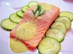 Poached Salmon with Mousseline Sauce, Cucumbers ~~ Titanic Recipe