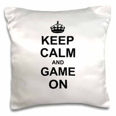 3dRose Keep Calm and Game on - carry on gaming - hobby or pro gamer gifts - black fun funny humor humorous, Pillow Case, 16 by 16-inch