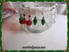 Christmas Ornament Earrings ~ these are easy to make from miniature Christmas ornaments.  Happy Creating everyone!