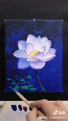 Lotus Painting - Best Picture For diy projects For Your Taste You are looking for something, and it is going to te - Lotus Painting, Acrylic Painting Flowers, Acrylic Art, Painting Art, Lotus Drawing, Lotus Art, Acrylic Paintings, Canvas Painting Tutorials, Diy Canvas Art