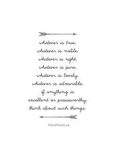 Bible Verse Print Phillipians 4:8 Bible by MelindaWoodDesigns