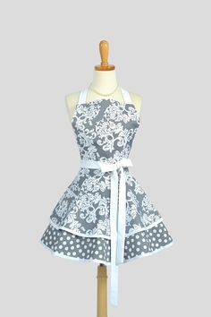 Ruffled Retro Apron - Cute Womens Apron in Grey and White Damask Full Bib Kitchen Apron on Etsy, Sold