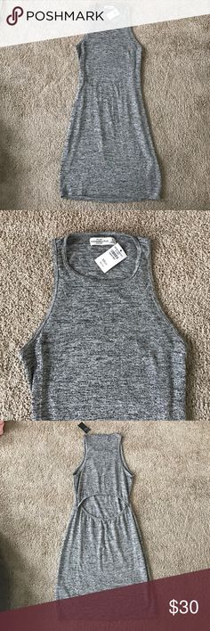 NWT A&F grey open back body con dress Never worn, NWT. Open below back design. Marbled grey color. Non smoking home. No trades! Abercrombie & Fitch Dresses