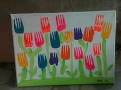 fork stamp tulip craft idea | Crafts and Worksheets for Preschool,Toddler and Kindergarten