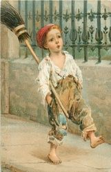 boy whistling with broom under his arm