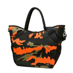 New Porter Stand PS Camo 2Way Tote Bag. The unique Orange Woodland camo 2Way tote comes fully equipped with multiple internal and external pockets, side mesh pockets, plus custom turn-button closure. Can be used as a 2WAY hand held or shoulder bag by the attaching shoulder strap.