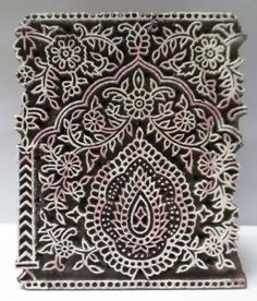 INDIAN WOODEN HAND CARVED TEXTILE PRINTING FABRIC BLOCK STAMP FINE CARVING