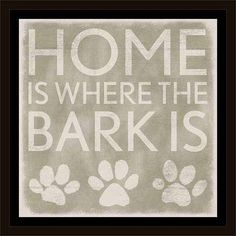 Home Bark Paw Print Distressed Wood Grain Inspirational Pet Typography Tan & White, Framed Canvas Art by Pied Piper Creative, Brown