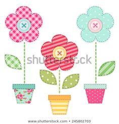 Retro Embroidery Design Cute retro spring flowers in pots as fabric patch applique - Applique Templates, Applique Patterns, Applique Quilts, Quilt Patterns, Applique Designs Free, Baby Applique, Machine Applique, Machine Embroidery, Crazy Quilting